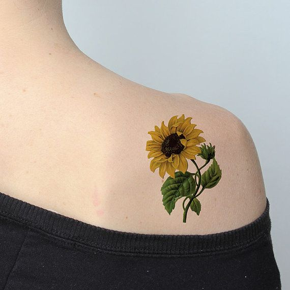 Tattify Sunflower Temporary Tattoo Sunny Disposition Set Of 2