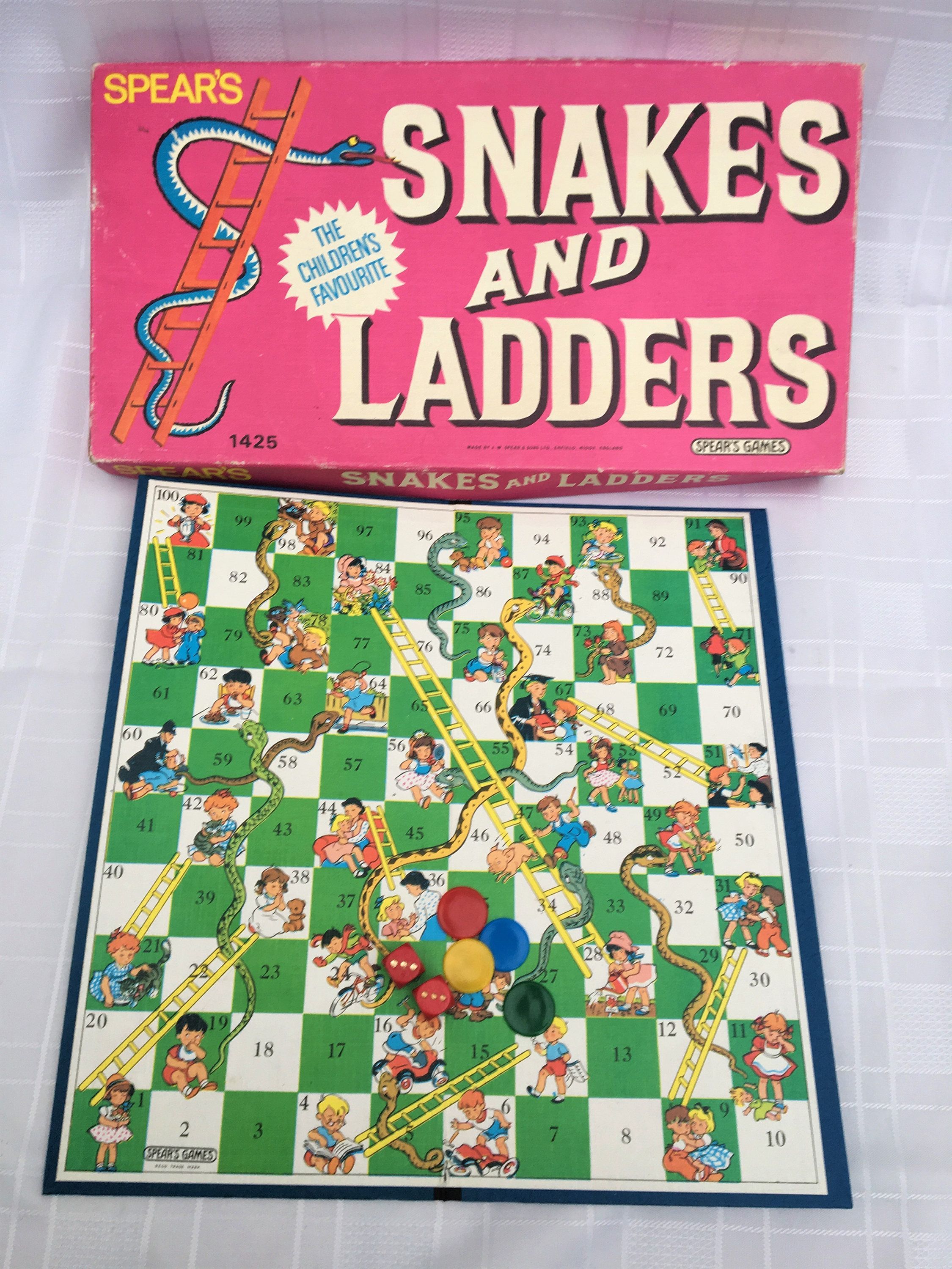 Vintage Snakes and Ladders by Spear's box and Board Games