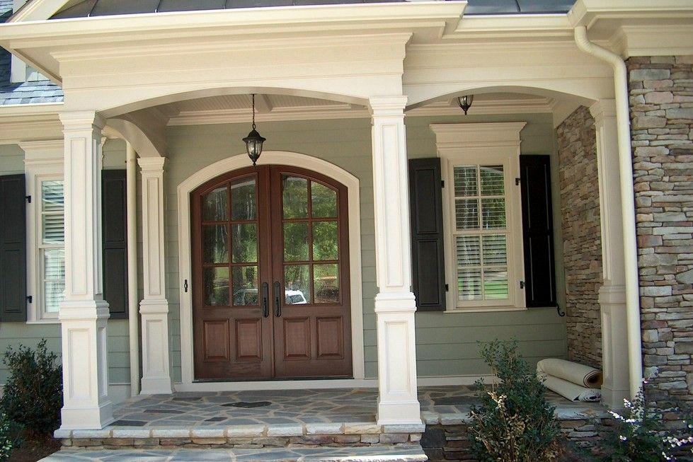 Exterior Balustrade System With Round Columns See Pictures Below For Examples Of The Work We Do Porch Columns Staining Fiberglass Door House Exterior