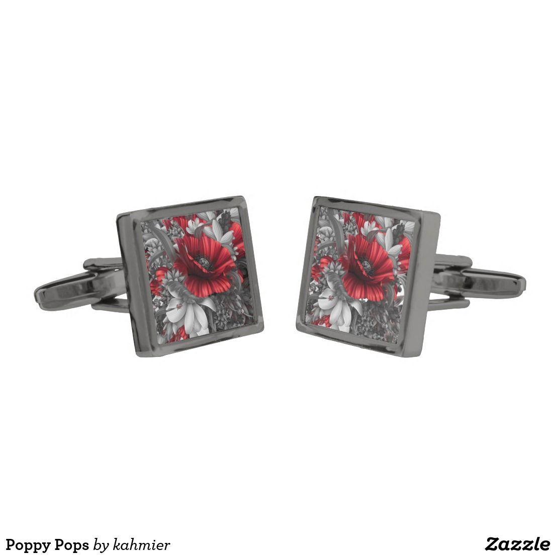 Poppy Pops Gunmetal Finish Cufflinks | Gifts For Him | Pinterest