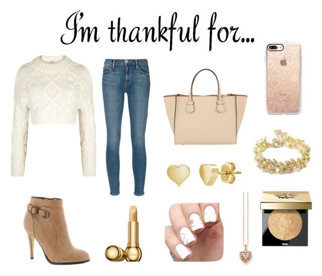 """I'm thankful for...."" by camibernardez ❤ liked on Polyvore featuring DKNY, Frame Denim, Thomas Sabo, Michael Antonio, Casetify, Moreau, BERRICLE, Chanel, Bobbi Brown Cosmetics and Christian Dior"
