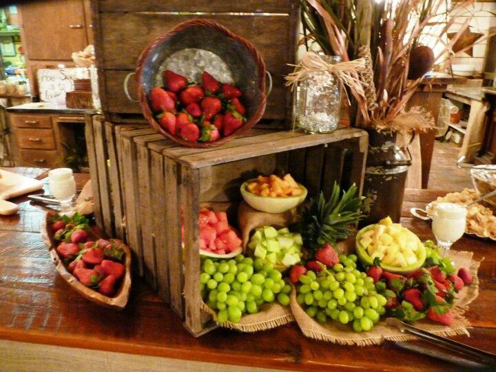 Waterfall Fruit And Veggie Displays: Rehearsal / Reception Ideas