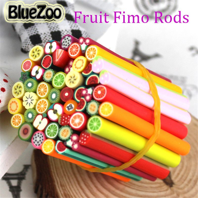 BlueZoo 50pcs Fimo Nail Stickers Manicur Fimo Canes Fruit 3D Nail ...