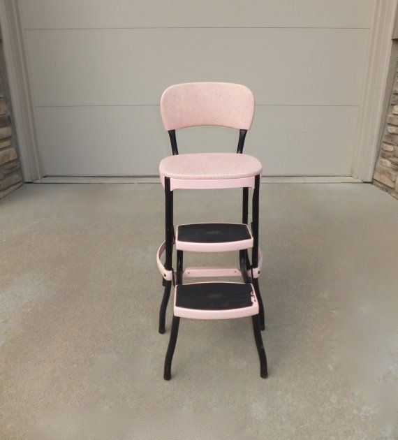 Pink Cosco Kitchen Chair Step Stool Metal Chair Metal Step