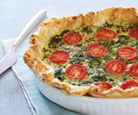 The filling here can be replaced with your favorite veggies and cheese, and you can increase the amount of quiche batter for larger pies using this simple equation: count i/2 cup milk for every egg used. The recipe will also work in a prepared piecrust.