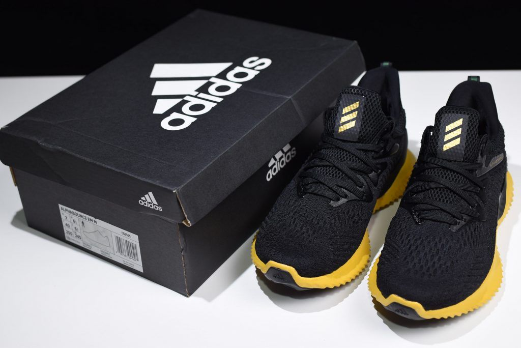 f489f50ac6fba 2018 Men s Adidas AlphaBounce Beyond Black Yellow Shoes CG5555 in ...