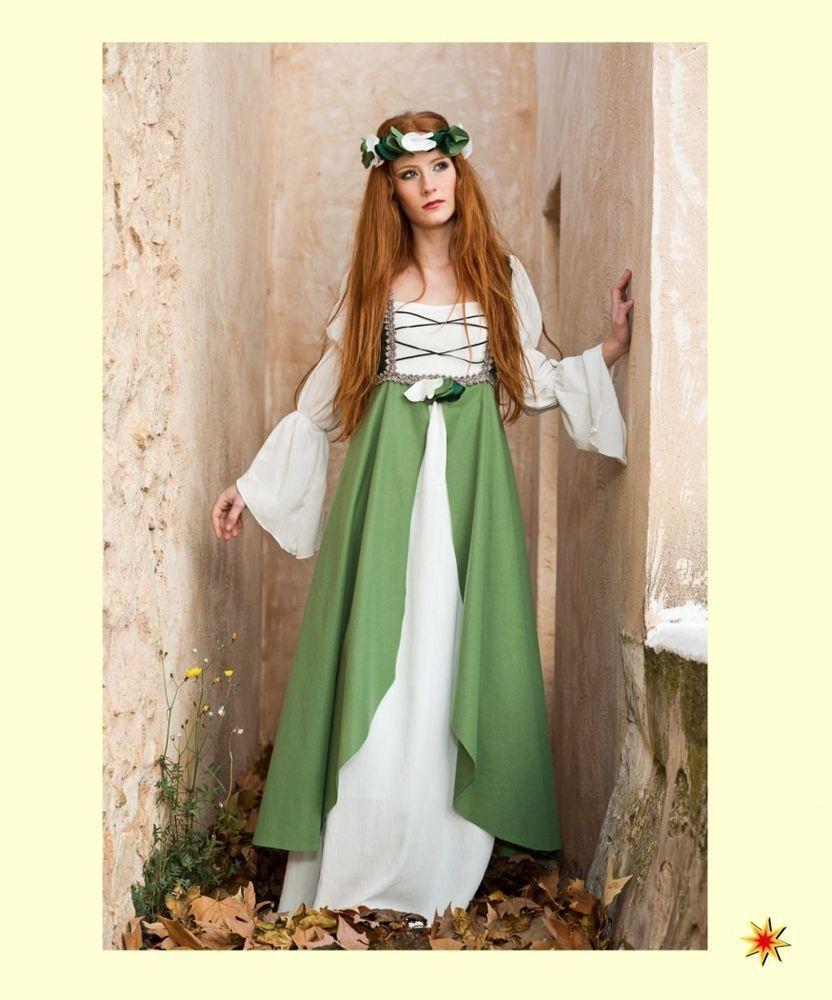 Kostüm Burgfräulein Gr.XL Mittelalter Kleid grün-creme Hofdame ...