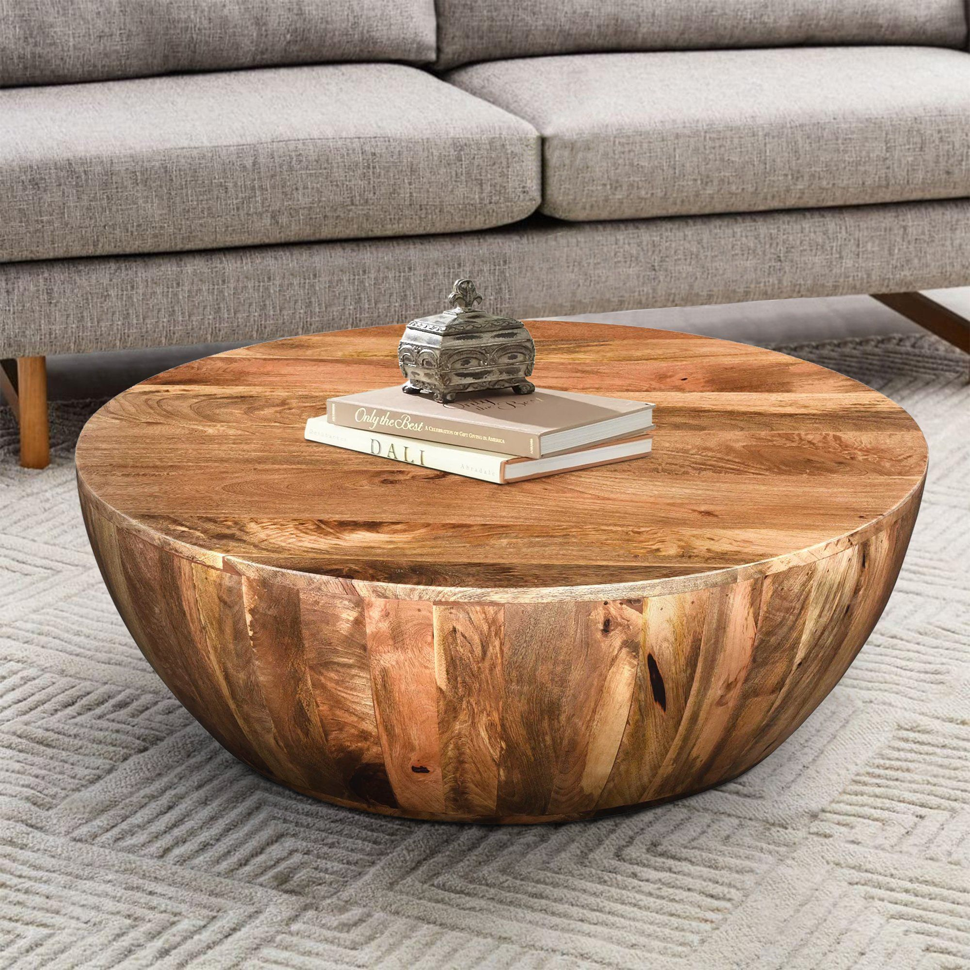 Mango Wood Coffee Table In Round Shape Dark Brown By The Urban Port Upt 32180 Coffee Table Wood Drum Coffee Table Coffee Table Wayfair