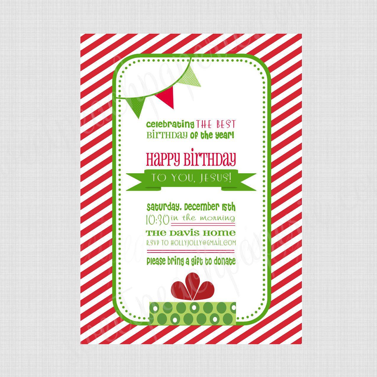 Happy Birthday Jesus Printable Invitation (Professional