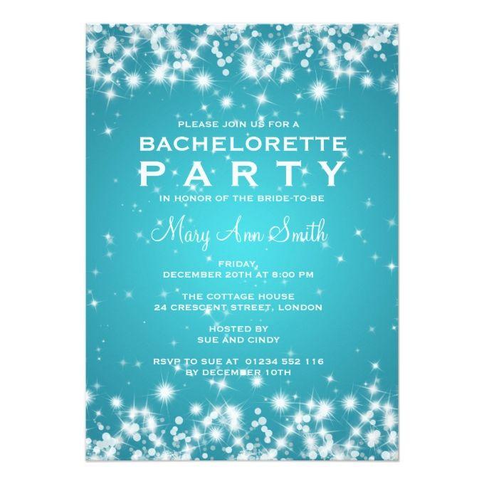 Elegant Bachelorette Party Winter Sparkle Turquois 5x7 Paper Invitation Card