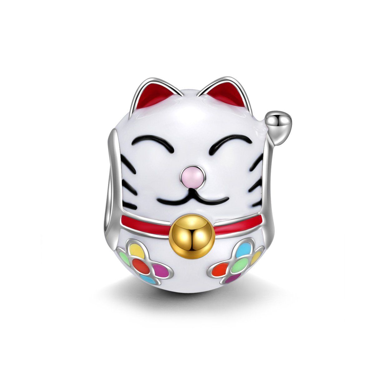 Ninaqueen 925 Sterling Silver Enamel Japan Lucky Cat Charms Fit