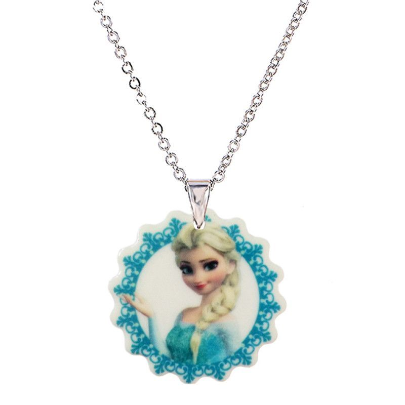 2016 Cartoon Princess Acrylic Pendant Necklace for Little Girls