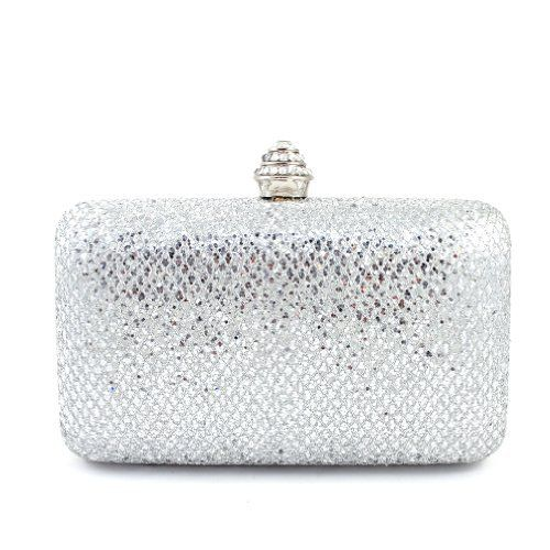 a41575265c6d Amazon.com  Designer Inspired Sequined Rhinestone Studded Round Top Clasp  Clutch Handbag with Body