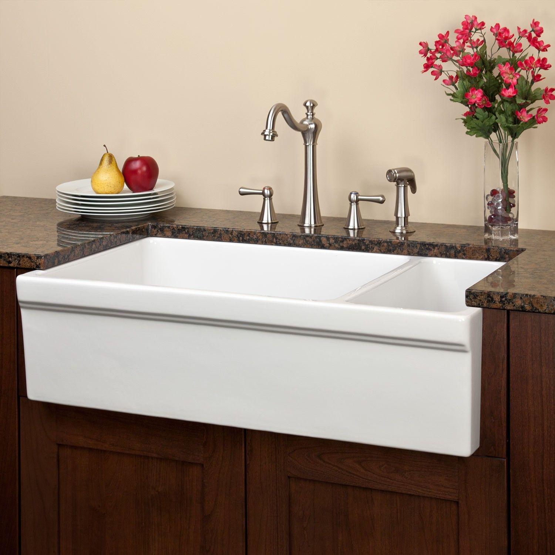 36 Gallo Reversible 80 20 Offset Double Bowl Italian Fireclay Farmhouse Sink Kitchen Sinks