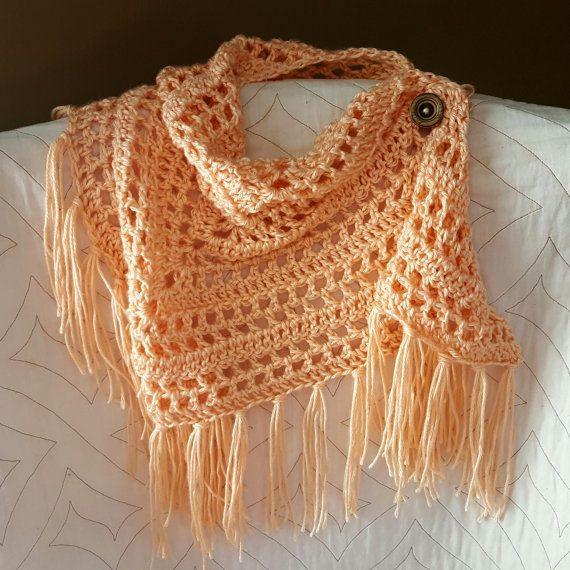 Scarf Pattern Fringed Scarf Bandana Cowl Lightweight Crochet
