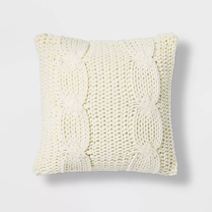 Chunky Cable Knit Throw Pillow Threshold In 2020 Cable Knit Throw Chunky Cable Knit Throw Throw Pillows
