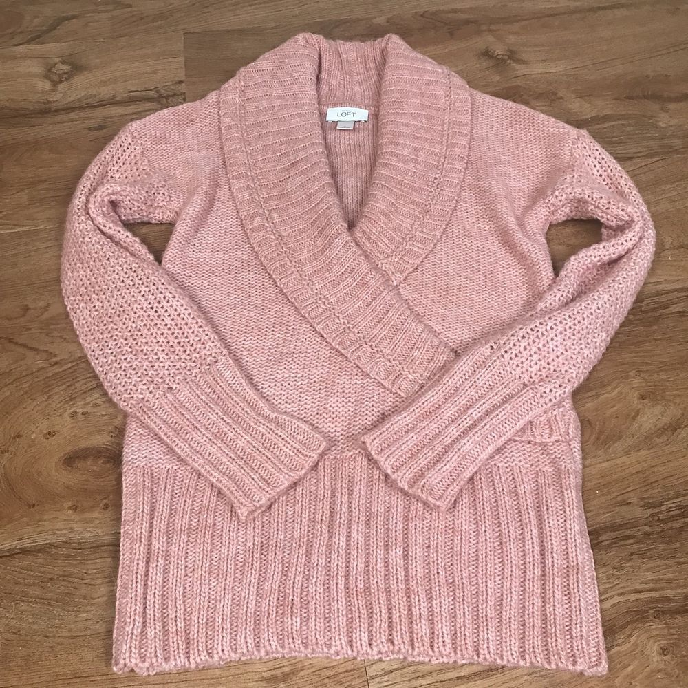 Ann Taylor Loft Sweater Small Acrylic Alpaca Wool Pink Wrap Collar