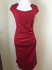 New Calvin Klein Red Side Ruching Sleeveless Cocktail Dress Plus Size 20W | eBay