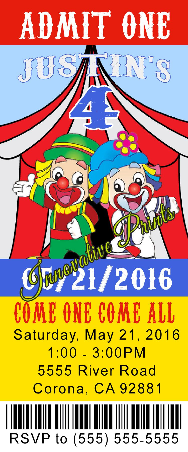 Circus/Carnival ticket Birthday Invitation- Click on the image twice ...