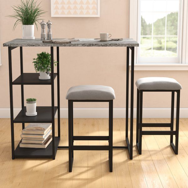 Cheap Furniture Stores Online Free Shipping: You'll Love The Denham 3 Piece Grey Pub Table Set At