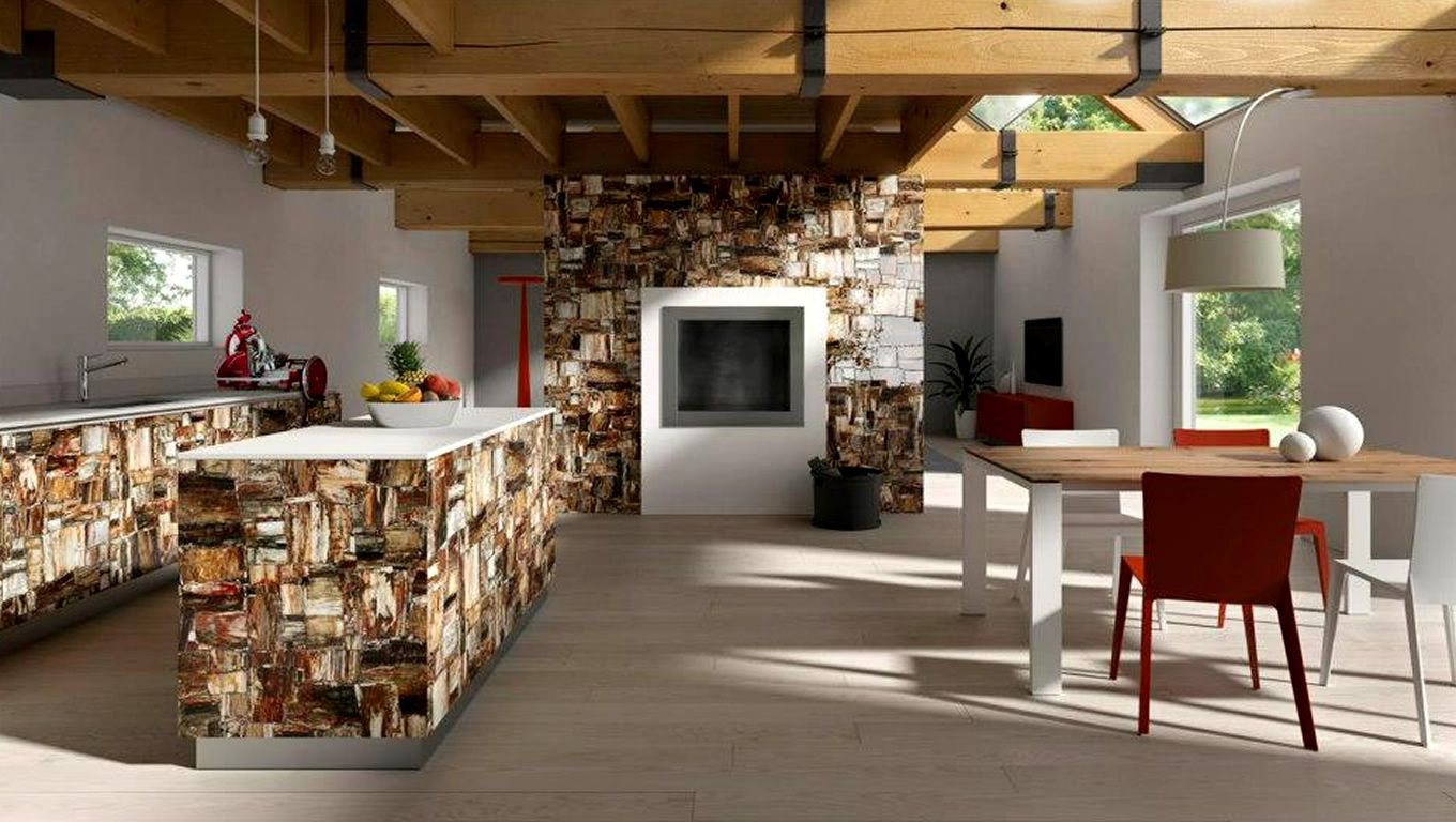 Commercial interior with retro petrified wood stone by for Interior design styles wood