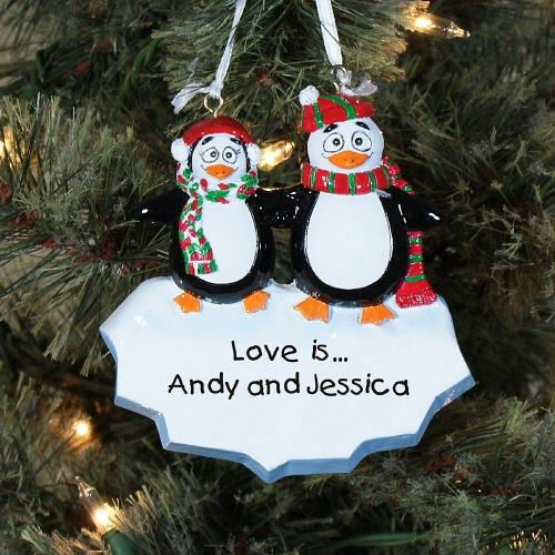 Personalized Penguin Couple #Christmas Ornament