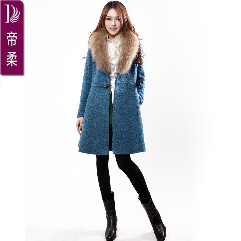 2014 new Women's woolen outerwear winter fashion oversized raccoon fur wool coat autumn casual woolen jacket High-end design