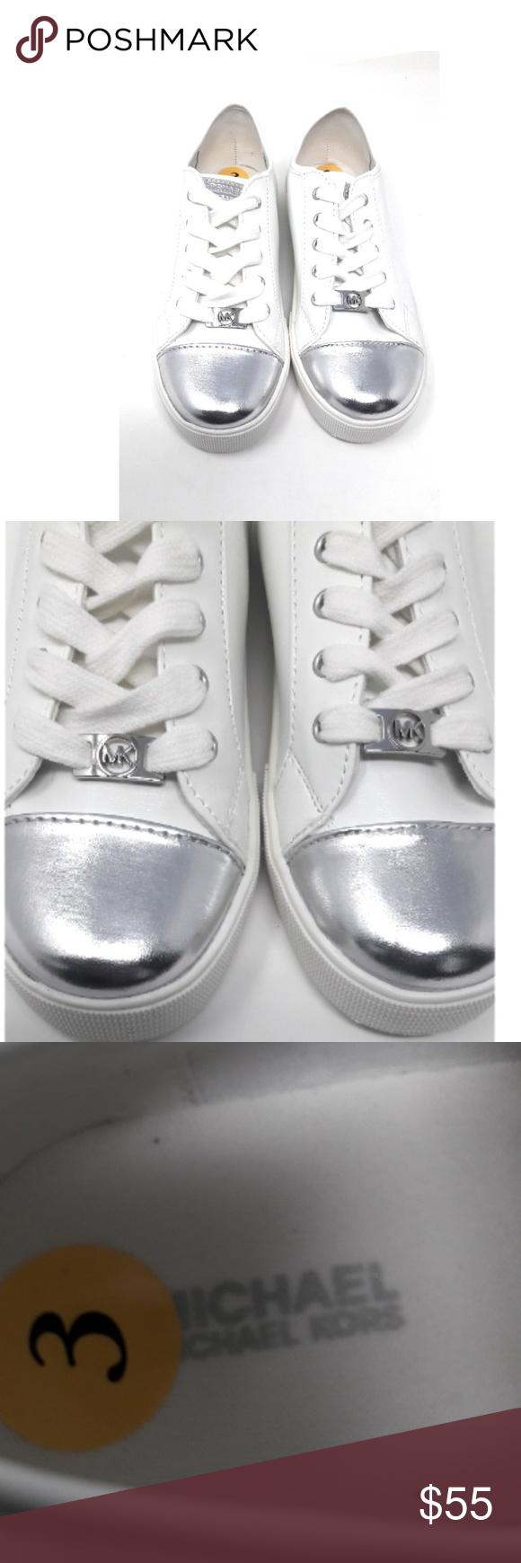 c3d029aa0 Michael Kors Girl's White Silver Sneakers Size 3 Michael Kors girls white  and silver metallic sneakers