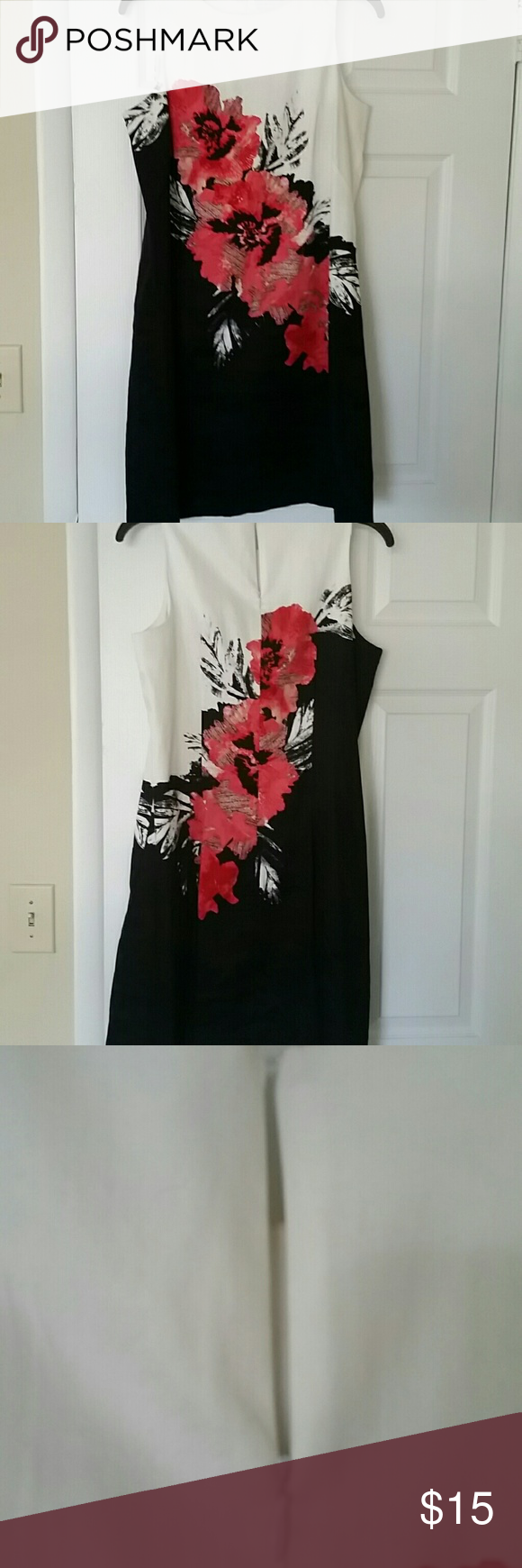 New York And Company Sleeveless Floral Dress Red Flowers Black And White Background Zipper Back New Yor Sleeveless Floral Dress Clothes Design Fashion Design [ 1740 x 580 Pixel ]