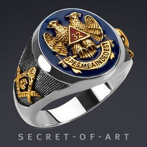 Details about Masonic Ring AASR 32 Degree Master Freemason 925 Silver 24K-Gold-Plated Parts