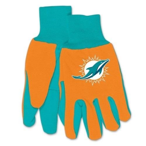 Miami Dolphins Gloves Two Tone Style Adult Size Orange With Teal