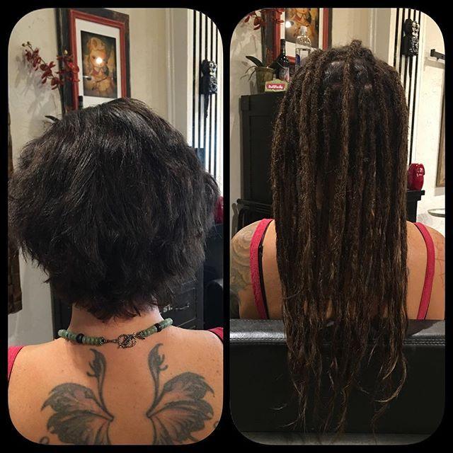 Before After Human Hair Dreadlock Extensions By Alin Caylin Carmen Dreadlock Exte Hair Extensions For Short Hair Dreadlock Extensions Dreads Short Hair