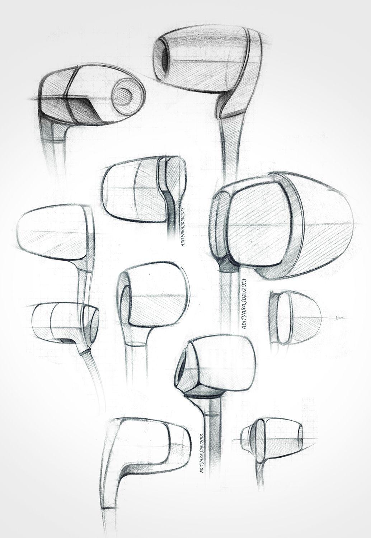Product Design Line Art : Earphones earplugs sketch exploration quick doodles