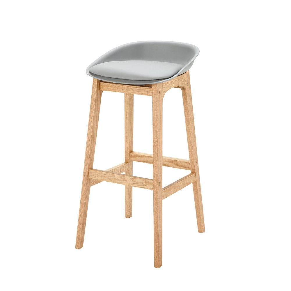 Grey Scandinavian Bar Stool With Solid Oak H88 Ice On Maisons Du Monde Take Your Pick From Our Furniture And Scandinavian Bar Stool Oak Bar Stools Bar Stools