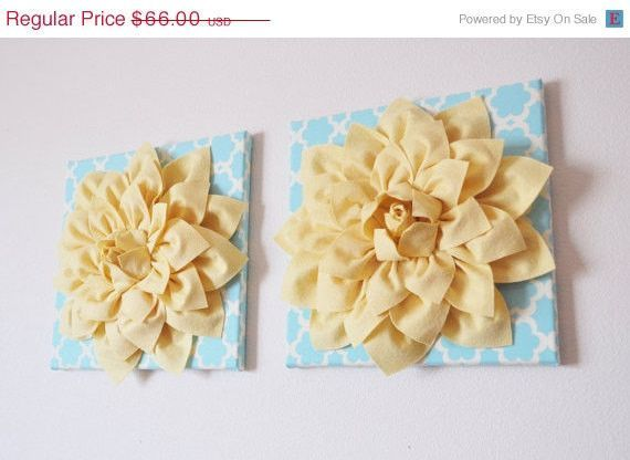 MOTHERS DAY SALE Two Wall Flowers -Light Yellow Dahlia on Blue ...