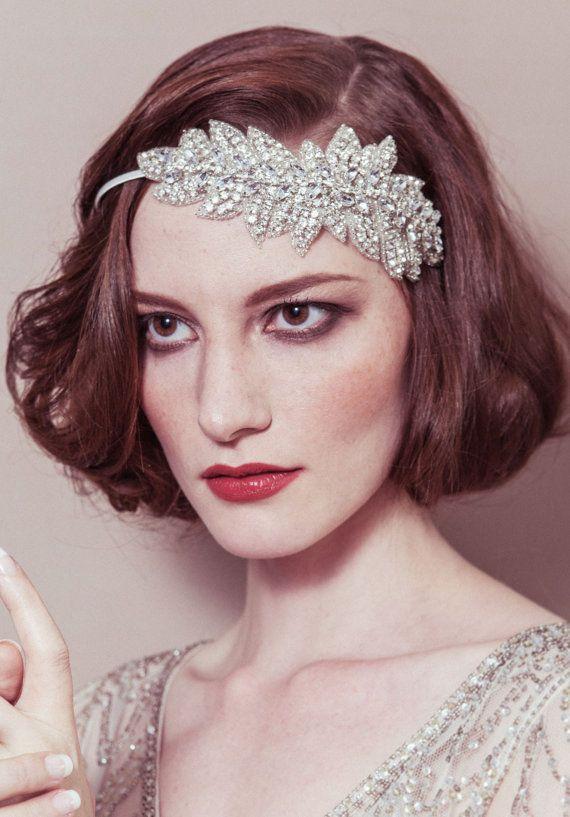 Lauren  rhinestone leaf garland deco Gatsby bridal by dcbouquets, $205.00