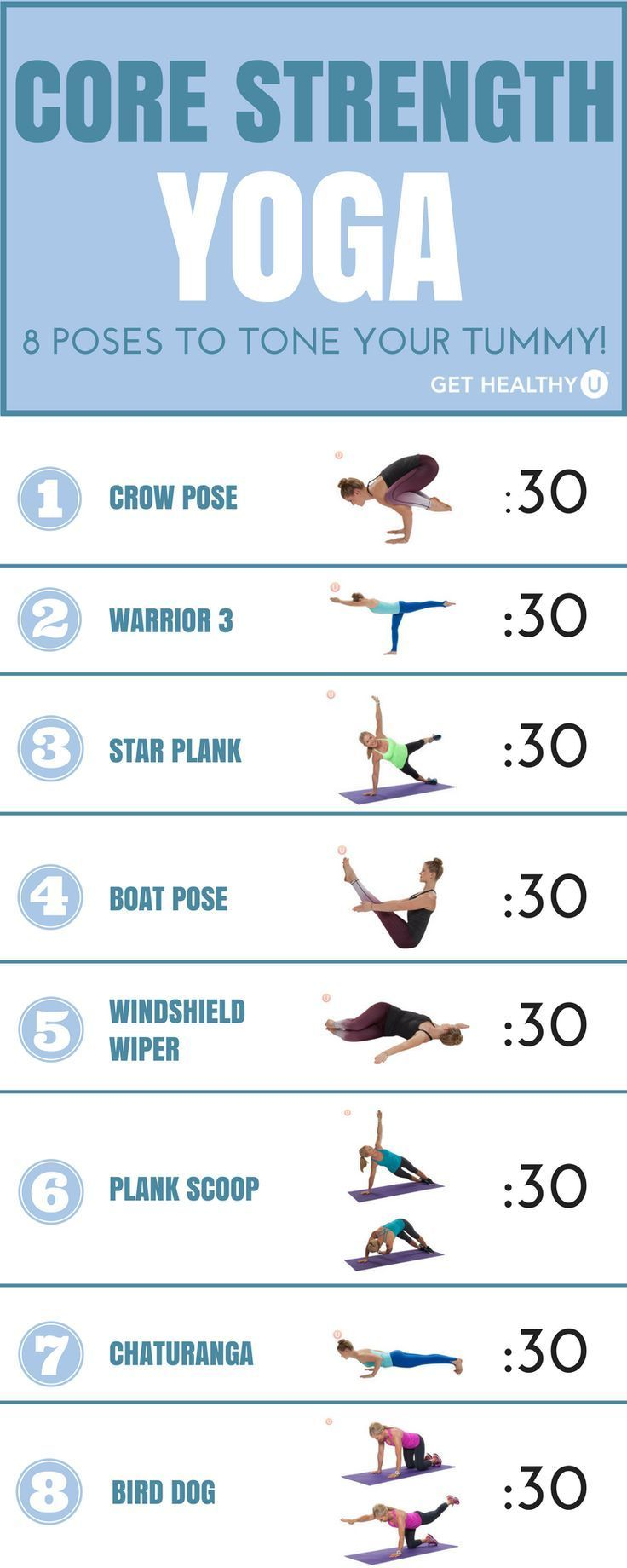 Not only does yoga help calm your mind, but it also is amazing for your abs! Use these 8 challenging...