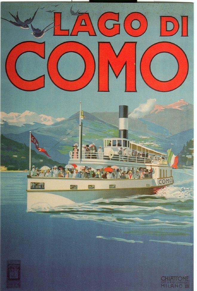 Poster su legno: Lago di Como vintage | Retro poster ...