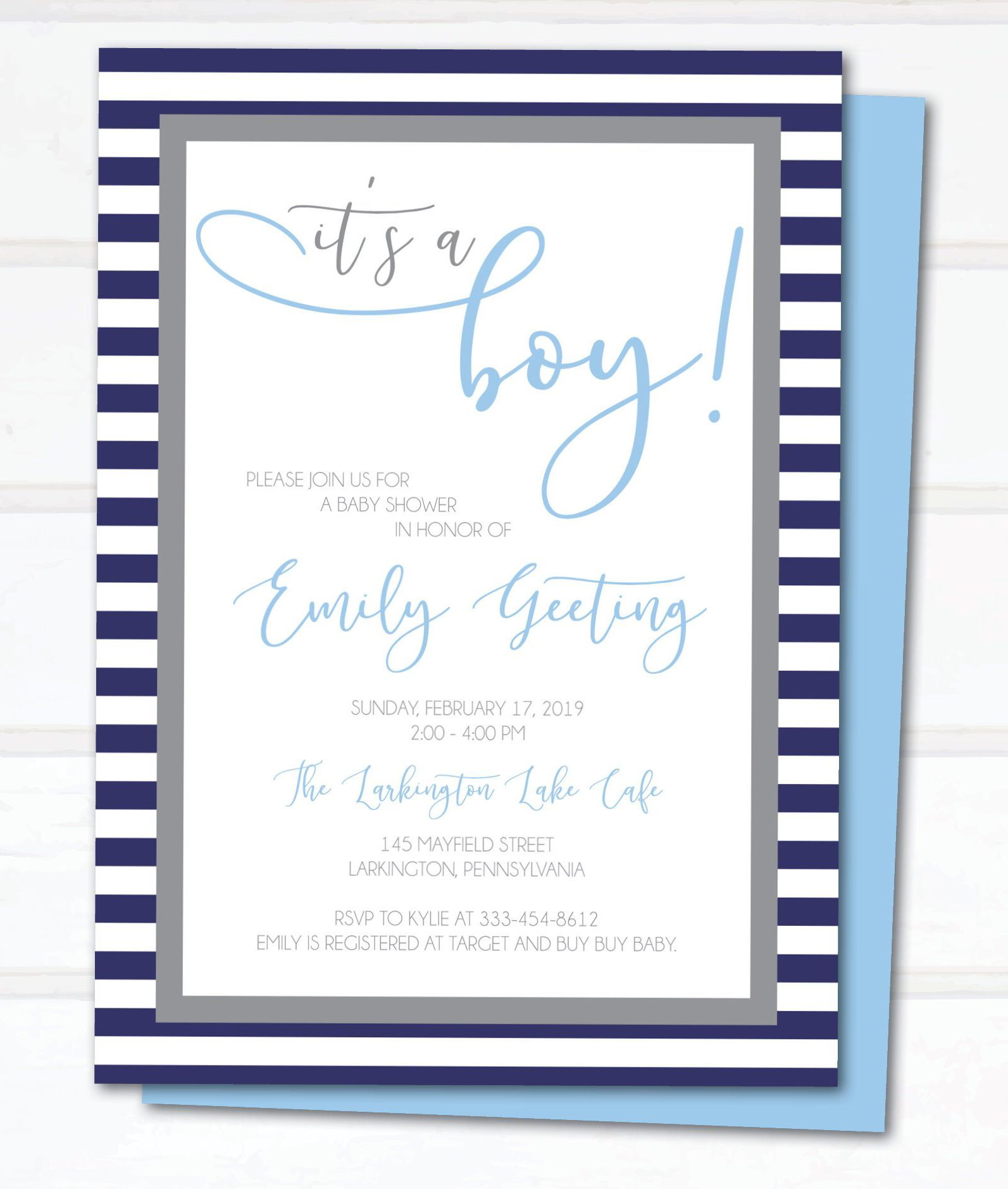 Baby Boy Shower Invitation Classic Baby Invite Traditional Baby Boy Invitation Baby Boy Invitations Baby Shower Invitations For Boys Boy Shower Invitations