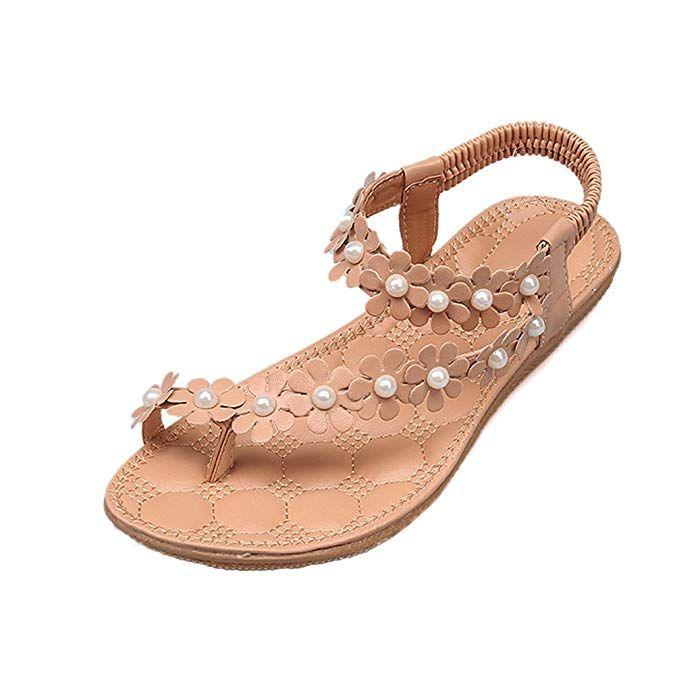 55e5285215920 Amazon.com | Women Summer Bohemia Flower Beads Flip-Flop Shoes Flat ...