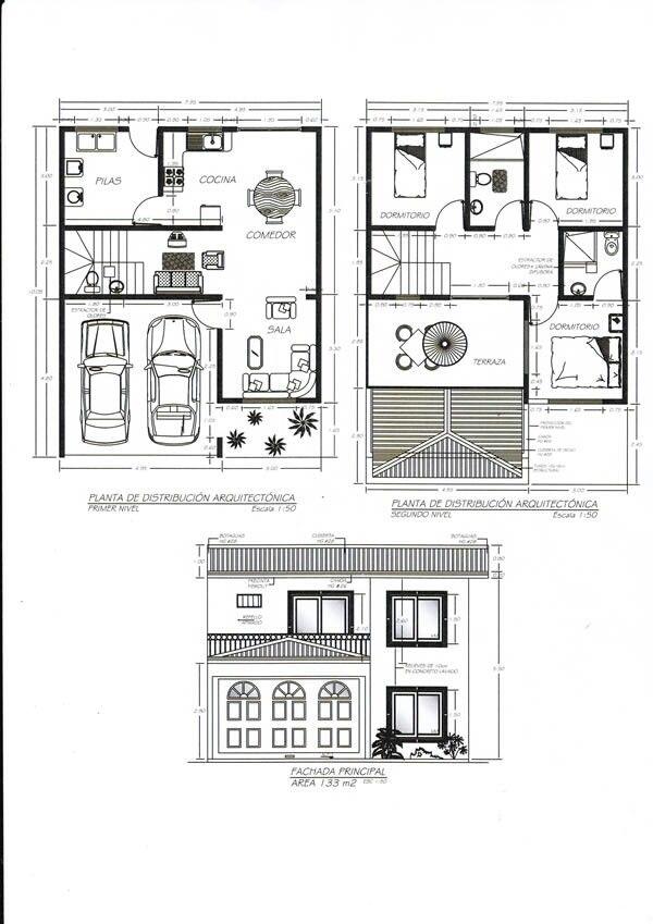 Plano de casa casas pinterest for Planos de casas 8x15