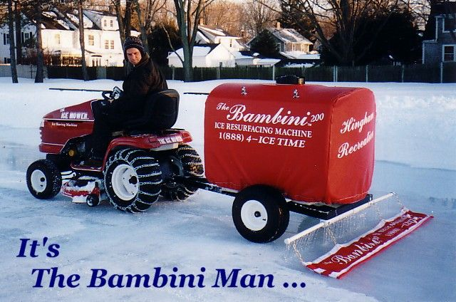 Tank on a trailer, PVC pipe and a matt....DIY Zamboni. Always wanted ...