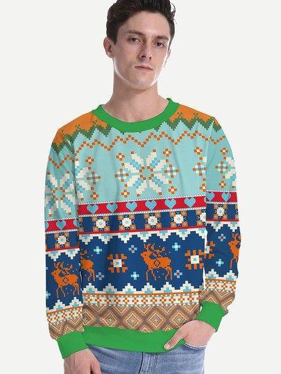 e38fbd10ddde0 Men Christmas Fairisle Print Sweatshirt | Christmas Color ...