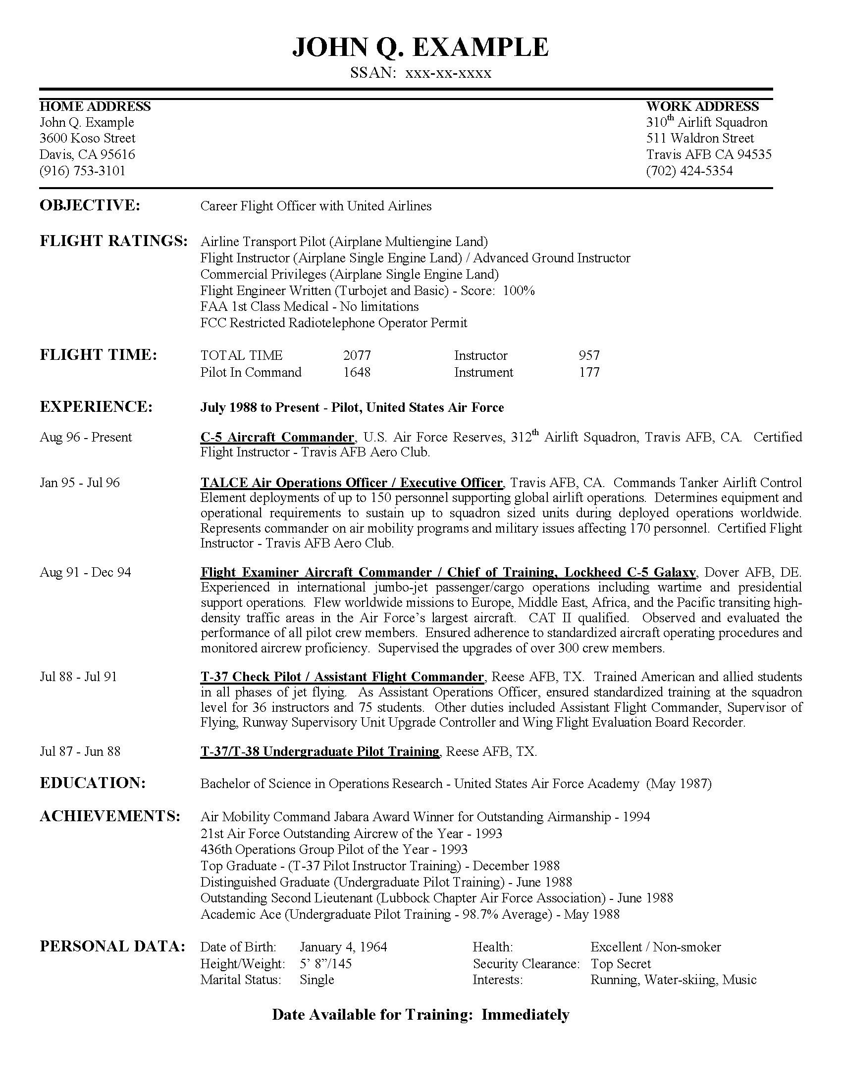 Airline Pilot Hiring Example Resume Sample Booking Professional