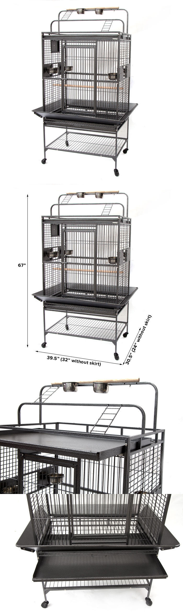 Cages 46289: Flyline Grey Palace Play Top Bird Cage Parrot Aviary ...