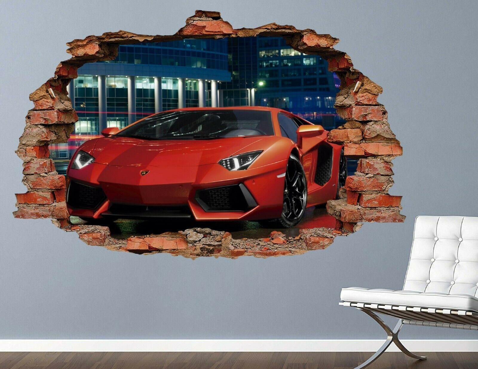 Photo of Ferrari Red Sports Custom Wall Decals 3D Wall Stickers Art AH518 – Small (Wide 20 x 12 Height)