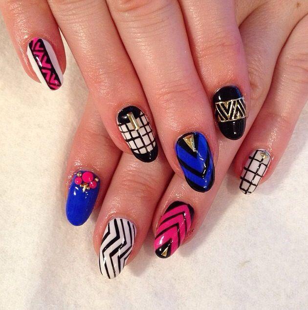 Zig-zag n Grid- modern tribal- Dope nail design ideas- nail swag obsession- nail porn addiction