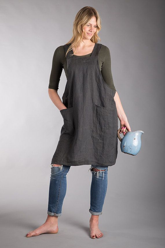 493f3b376eeb Charcoal grey colour Japanese cross back apron with two deep pockets. All  our items are made out of pure and washed Baltic linen.