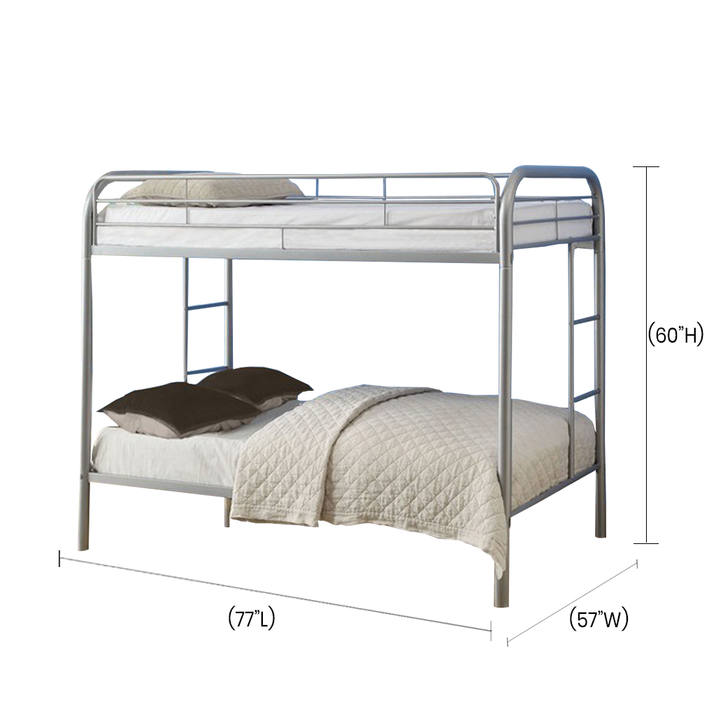 The Fella Full Metal Bunk Bed Is Made Of A Gray Coated Metal Frame