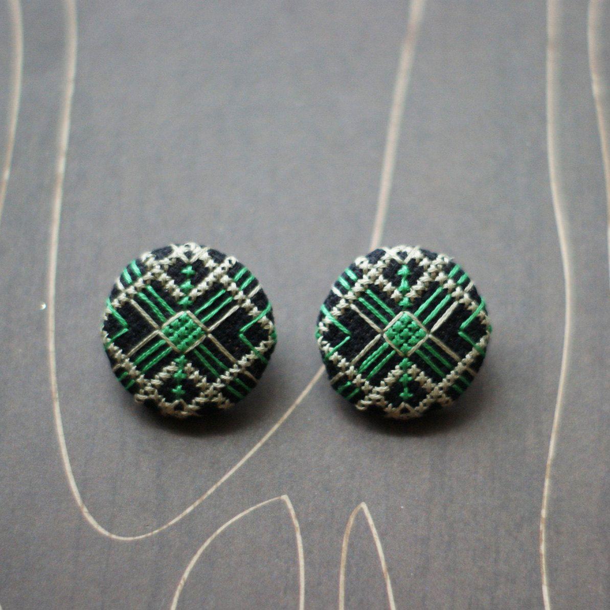 Art Deco Geometric Cross Stitch Earrings Emerald